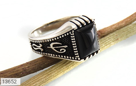 انگشتر عقیق سیاه طرح هنری مردانه - عکس 5