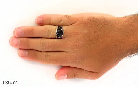 انگشتر عقیق سیاه طرح هنری مردانه - عکس 7