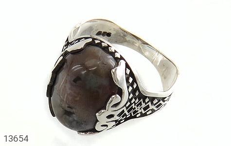 انگشتر عقیق درشت خاکستری طرح مهران مردانه - عکس 1