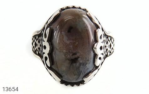 انگشتر عقیق درشت خاکستری طرح مهران مردانه - تصویر 2