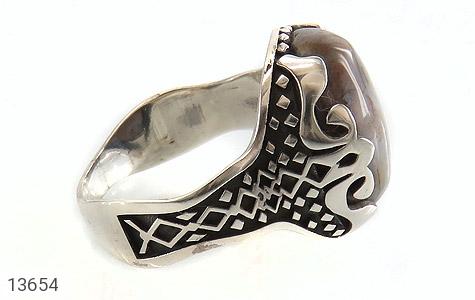 انگشتر عقیق درشت خاکستری طرح مهران مردانه - عکس 3