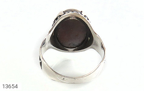 انگشتر عقیق درشت خاکستری طرح مهران مردانه - تصویر 4