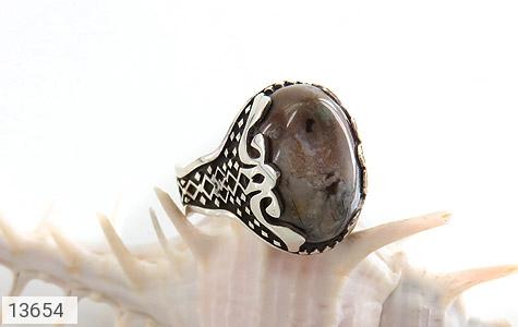 انگشتر عقیق درشت خاکستری طرح مهران مردانه - عکس 5