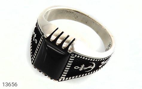 انگشتر عقیق سیاه طرح لنگر مردانه - عکس 1