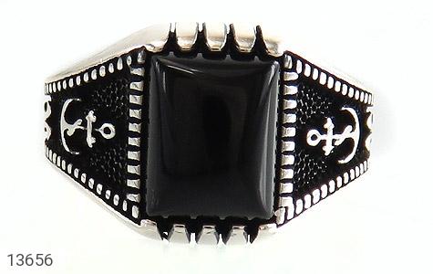 انگشتر عقیق سیاه طرح لنگر مردانه - تصویر 2
