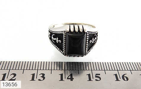 انگشتر عقیق سیاه طرح لنگر مردانه - تصویر 6