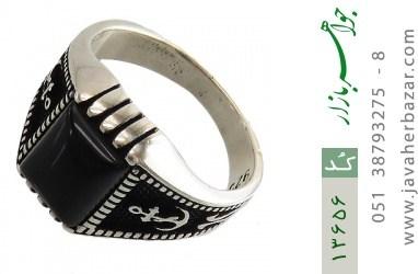 انگشتر عقیق سیاه طرح لنگر مردانه - کد 13656