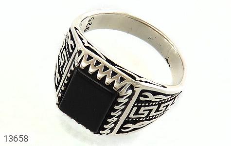 انگشتر عقیق سیاه طرح ورساچه مردانه - عکس 1