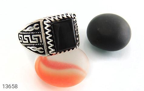انگشتر عقیق سیاه طرح ورساچه مردانه - عکس 5