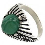 انگشتر عقیق سبز رکاب طرح کلاسیک مردانه