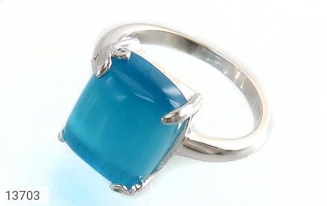 انگشتر چشم گربه آبی طرح آیلا زنانه - عکس 1