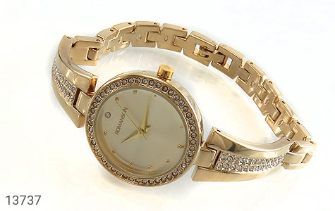 ساعت رمانسون Romanson طلائی پرنگین زنانه - تصویر 2