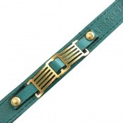 دستبند نقره و چرم خوش رنگ جذاب