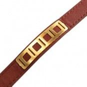 دستبند نقره و چرم طرح کلاسیک