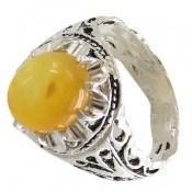 انگشتر عقیق زرد شرف الشمس طرح سنتی مردانه