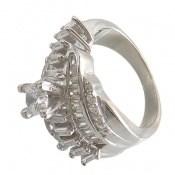 انگشتر نقره سولیتر درشت و پرنسسی زنانه