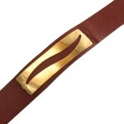دستبند نقره و چرم طرح محبوب