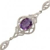دستبند آمتیست درشت طرح گوهر زنانه