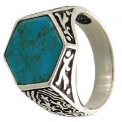 انگشتر فیروزه تبتی طرح شش ضلعی و خاص