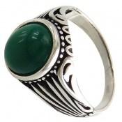 انگشتر عقیق سبز طرح پوریا مردانه