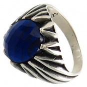 انگشتر نگین آبی درخشان مردانه