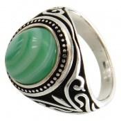 انگشتر عقیق سبز طرح اسلیمی مردانه