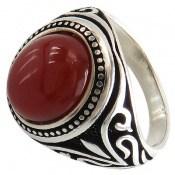 انگشتر عقیق قرمز طرح اسلیمی مردانه