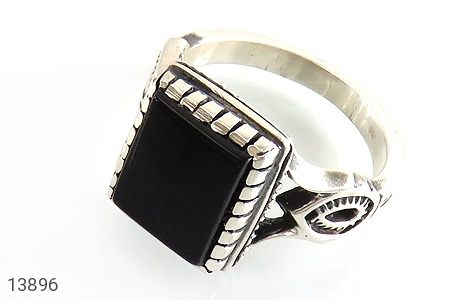 انگشتر عقیق سیاه طرح بهرنگ مردانه - عکس 1