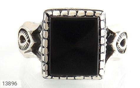 انگشتر عقیق سیاه طرح بهرنگ مردانه - تصویر 2