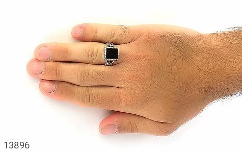 انگشتر عقیق سیاه طرح بهرنگ مردانه - عکس 7