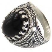 انگشتر عقیق سیاه طرح سنتی مردانه