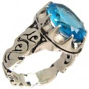 انگشتر توپاز آبی درشت رکاب یاعلی مردانه