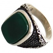 انگشتر عقیق سبز طرح کبیر مردانه