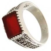 انگشتر عقیق قرمز طرح صفوی مردانه