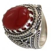 انگشتر عقیق سرخ طرح سنتی و جذاب مردانه