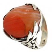 انگشتر عقیق خوش رنگ ابروبادی مردانه