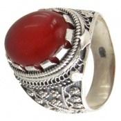 انگشتر عقیق قرمز درشت طرح سنتی مردانه