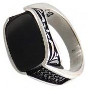 انگشتر عقیق سیاه طرح صفوی و شیک مردانه
