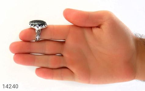 انگشتر حدید حکاکی چهارده معصوم رکاب دست ساز - تصویر 8