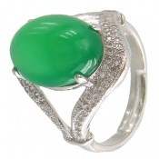 انگشتر عقیق سبز طرح ماهرخ فری سایز زنانه
