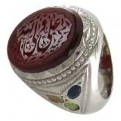 انگشتر چندنگین درشت حکاکی علی ولی الله مردانه