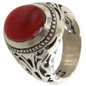 انگشتر عقیق قرمز خوش رنگ یمن مردانه
