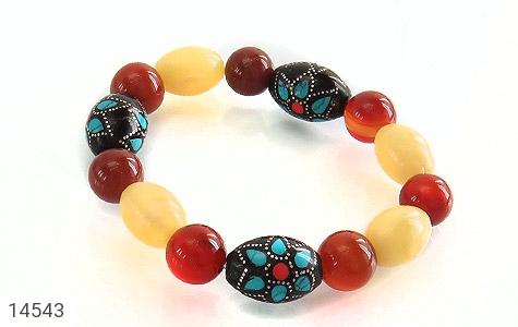 دستبند عقیق و یسر جذاب خوش رنگ زنانه - عکس 1
