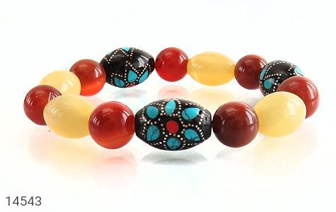 دستبند عقیق و یسر جذاب خوش رنگ زنانه - تصویر 2
