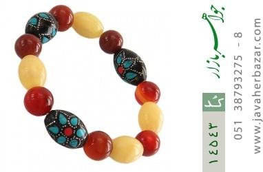 دستبند عقیق و یسر جذاب خوش رنگ زنانه - کد 14543