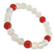 دستبند عقیق سفید و قرمز زنانه