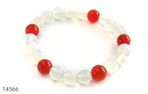 دستبند عقیق سفید و قرمز زنانه - عکس 1