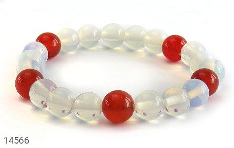 دستبند عقیق سفید و قرمز زنانه - تصویر 2