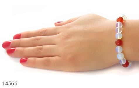 دستبند عقیق سفید و قرمز زنانه - عکس 5