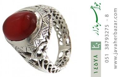 انگشتر عقیق سرخ طرح شهنام مردانه - کد 14578
